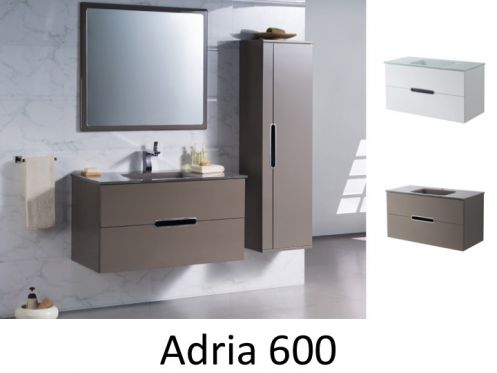 Meuble de salle de bain, suspendu, 60 cm, Blanc ou taupe Brillant ...