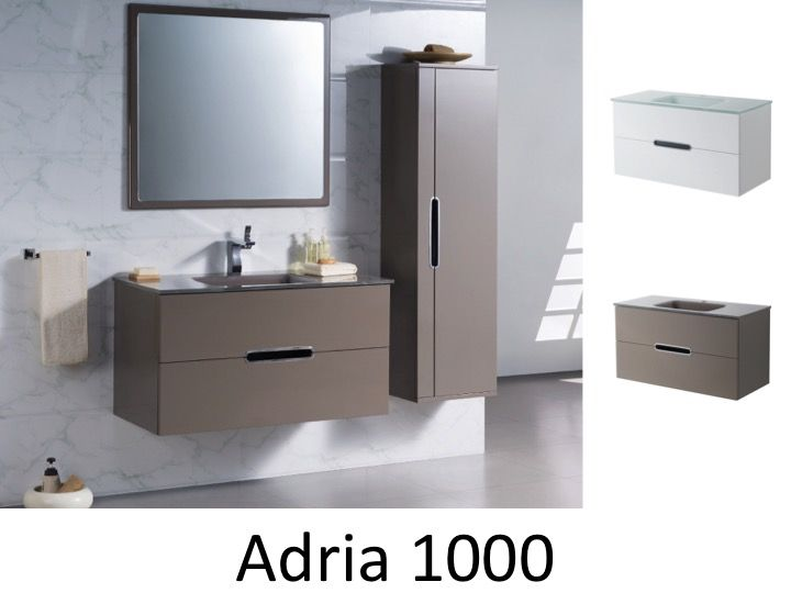 meuble de salle de bain suspendu 100 cm blanc ou taupe brillant adria 1000. Black Bedroom Furniture Sets. Home Design Ideas