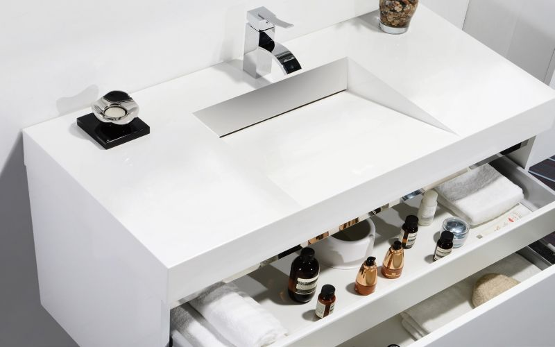 meuble de salle de bain 80 cm armoire miroir blanc brillant novo 800. Black Bedroom Furniture Sets. Home Design Ideas