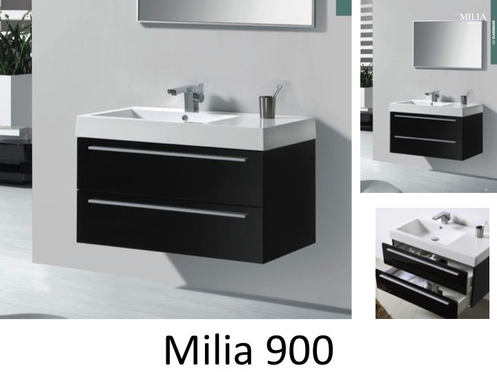 meubles lave mains robinetteries meubles sdb meuble de salle de bain 90 cm milia 900 noir. Black Bedroom Furniture Sets. Home Design Ideas