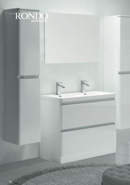 Meuble salle de bain, double vasques, 120 cm, blanc brillant, poser ...