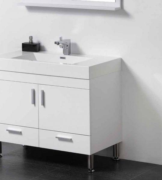 meuble de salle de bain sur pieds 75 cm blanc ou gris. Black Bedroom Furniture Sets. Home Design Ideas