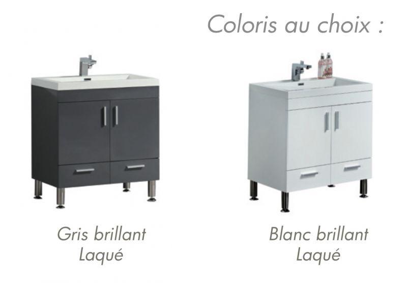 Meuble de salle de bain sur pieds avec double vasque de 144 cm blanc ou gris laqu hora 1440 - Meuble de salle de bain en 100 cm ...