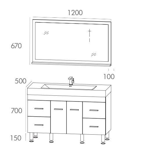 meuble de salle de bain sur pieds avec une vasque de 120 cm - Une Salle De Bain Est Equipee Dune Vasque