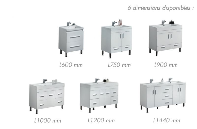 meuble de salle de bain sur pieds avec double vasque de 120 cm blanc - Tablette Salle De Bain 120 Cm