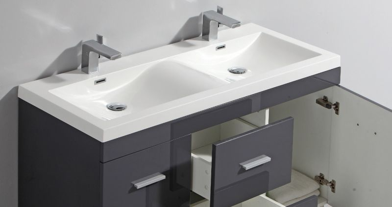 Double vasque 100 cm - Meuble lavabo double vasque ...