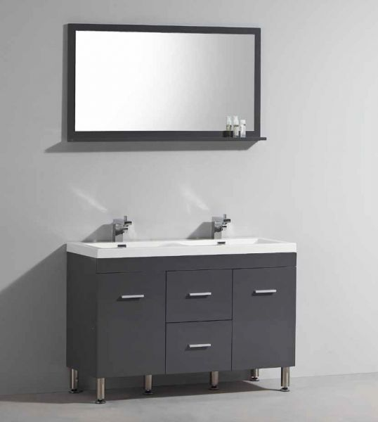 Meuble salle de bain blanc et gris - Meuble de salle de bain double vasque avec pied ...