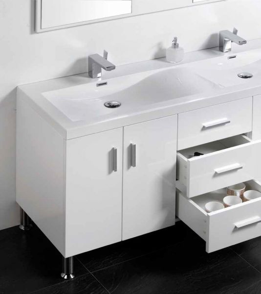 meuble de salle de bain sur pieds avec double vasque de 144 cm blanc ou gris laqu hora 1440. Black Bedroom Furniture Sets. Home Design Ideas