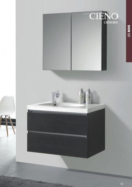 Meuble de salle de bain suspendu de 80 cm armoire miroir effet bois gris cieno 800 - Meuble salle de bain bois suspendu ...