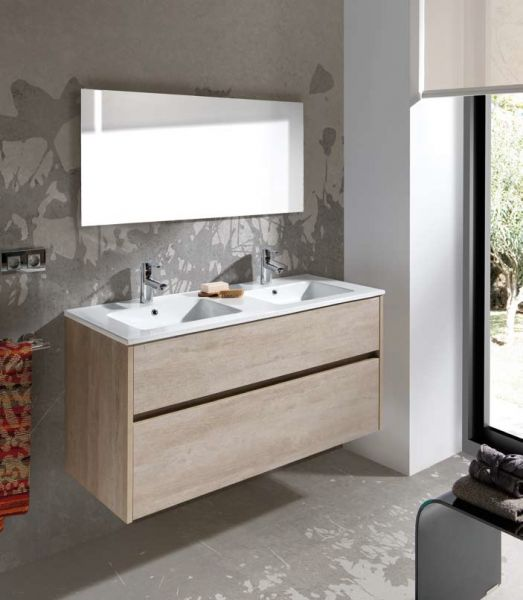 Meubles lave mains robinetteries meuble sdb meuble de for Double vasque salle de bain dimension