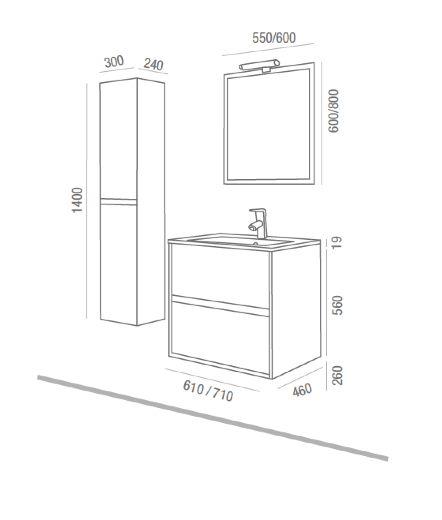 meubles lave mains robinetteries meuble sdb meuble de salle de bain 70 cm noja 700 2 tiroirs. Black Bedroom Furniture Sets. Home Design Ideas
