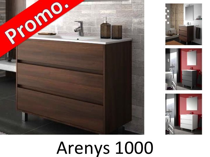 meubles lave mains robinetteries meuble sdb meuble de salle de bain 100 cm arenys 1000 3. Black Bedroom Furniture Sets. Home Design Ideas