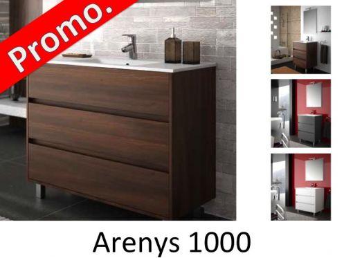 Meubles lave mains robinetteries meuble sdb meuble de salle de bain 100 cm arenys 1000 3 - Meuble de salle de bain sur pied ...