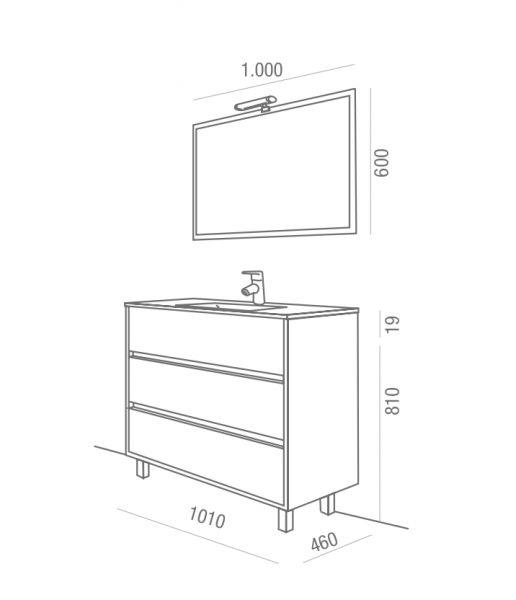 Meubles lave mains robinetteries meuble sdb meuble de salle de bain 100 cm arenys 1000 3 - Dimension salle de bain ...