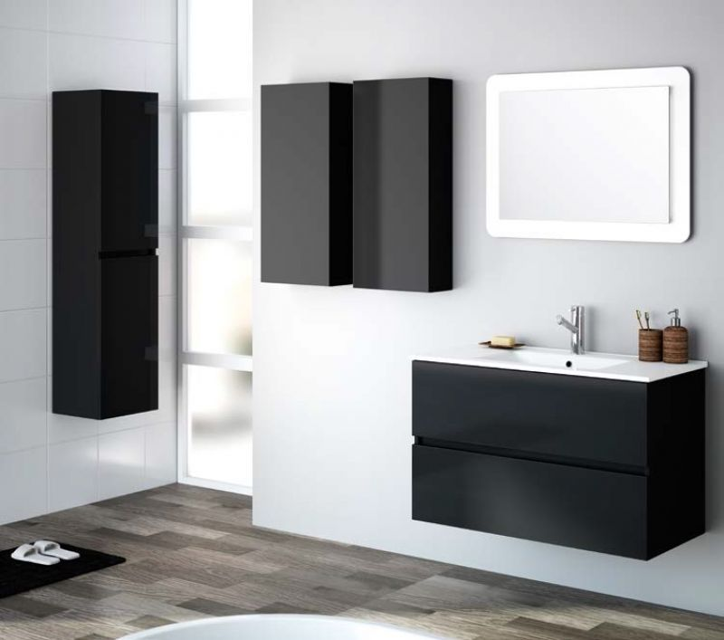 Meubles lave mains robinetteries meuble sdb meuble de Meuble 2 tiroirs 90 cm woodstock