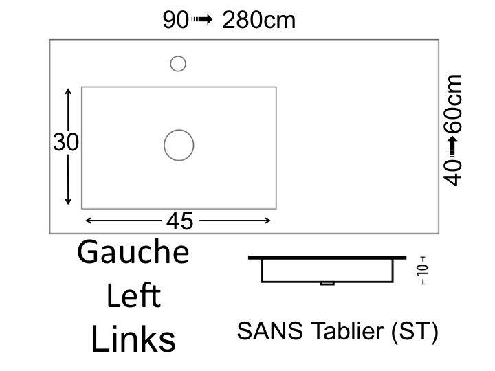Plan Vasque 1 Robinet Resine 100 Cm : Vasques largeur plan vasque suspendue ou à encastrer