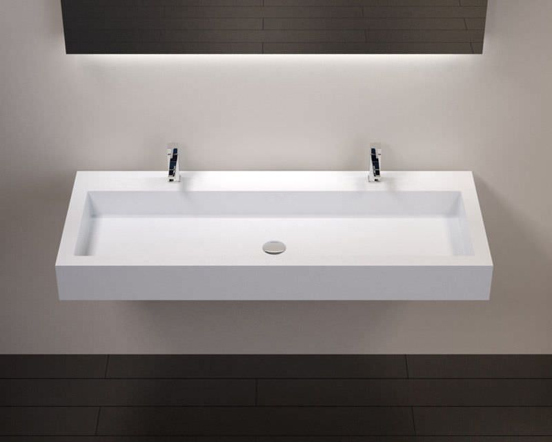 17 vasque suspendue ou encastrer double robinetterie largeur 120 cm - 100 Cm Plan Vasque