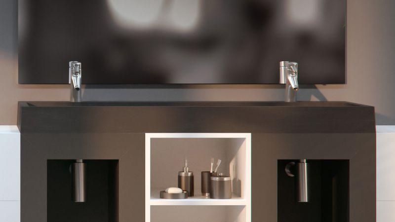 vasques largeur 100 double vasque suspendue ou poser largeur 100 cm en r sine caniveau noir. Black Bedroom Furniture Sets. Home Design Ideas