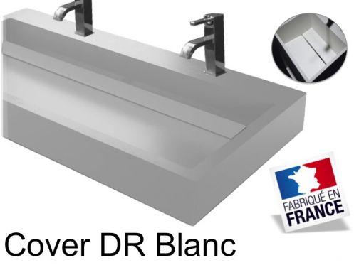 vasques largeur 90 double vasque suspendue ou poser largeur 90 cm en r sine cover blanc. Black Bedroom Furniture Sets. Home Design Ideas