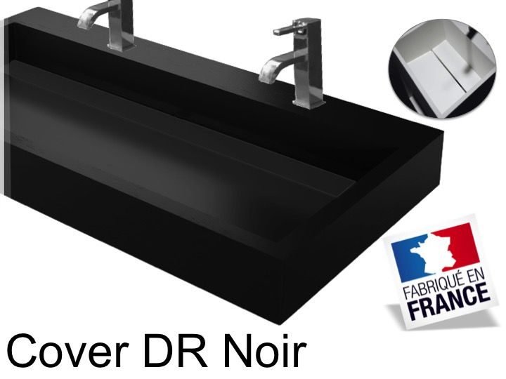 vasques largeur 140 double vasque suspendue ou poser largeur 140 cm en r sine cover noir. Black Bedroom Furniture Sets. Home Design Ideas