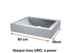 Vasque Inox UNO, à poser sur table, 600 x 500 mm -  Delabie