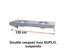 Double vasques inox DUPLO, suspendu, 1200 x 450 mm. -  Delabie