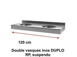 Double vasques inox DUPLO RP, suspendu, 1200 x 500 mm. -  Delabie