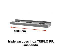 Triple vasques inox TRIPLO RP, suspendu, 1800 x 450 mm. -  Delabie, 1800 x 450 mm. -  Delabie
