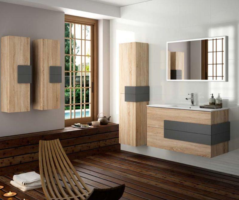 Meubles lave mains robinetteries meuble sdb meuble de salle de bain suspendu 100 cm cronos - Meuble salle de bain bois suspendu ...
