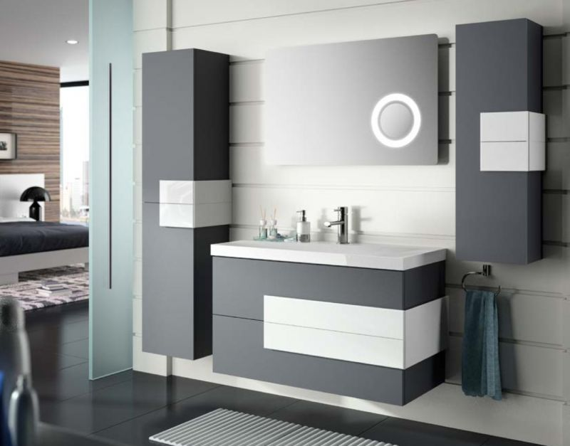 meubles lave mains robinetteries meuble sdb meuble de salle de bain suspendu 100 cm cronos. Black Bedroom Furniture Sets. Home Design Ideas