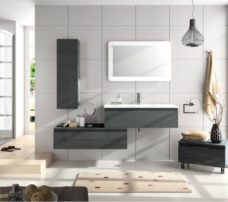 Meubles lave mains robinetteries meuble sdb meuble de salle de bain suspendu 100 cm versus for Meuble suspendu salle de bain design