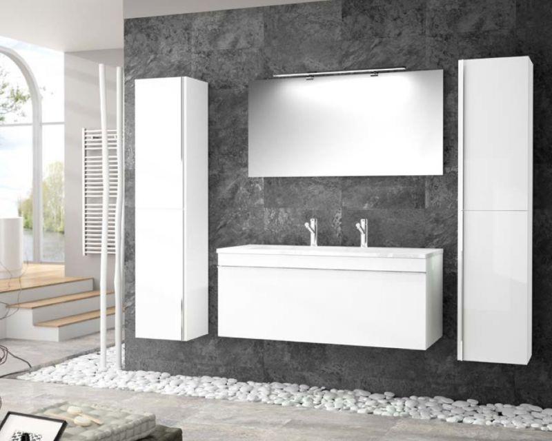 Meubles lave mains robinetteries meuble sdb meuble de salle de bain suspendu 120 cm for Meuble suspendu salle de bain design
