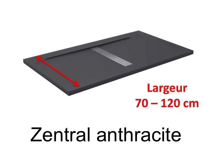 Receveur De Douche 140 Cm En Résine, Design Caniveau Central, Extra Plat,  Effet Pierre Anthracite