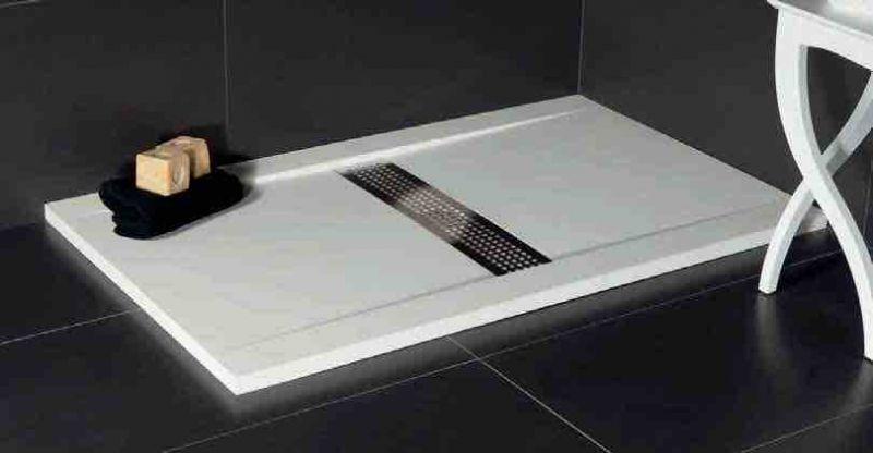 receveur de douche 110 cm en r sine design caniveau central extra plat effet pierre gris. Black Bedroom Furniture Sets. Home Design Ideas