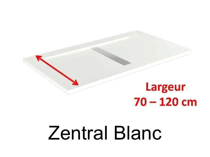 receveur de douche 170 cm en r sine design caniveau central extra plat effet pierre blanc. Black Bedroom Furniture Sets. Home Design Ideas