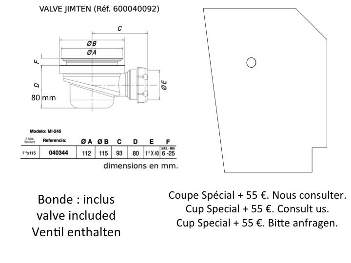 receveurs de douches longueur 85 receveur de douche 85. Black Bedroom Furniture Sets. Home Design Ideas