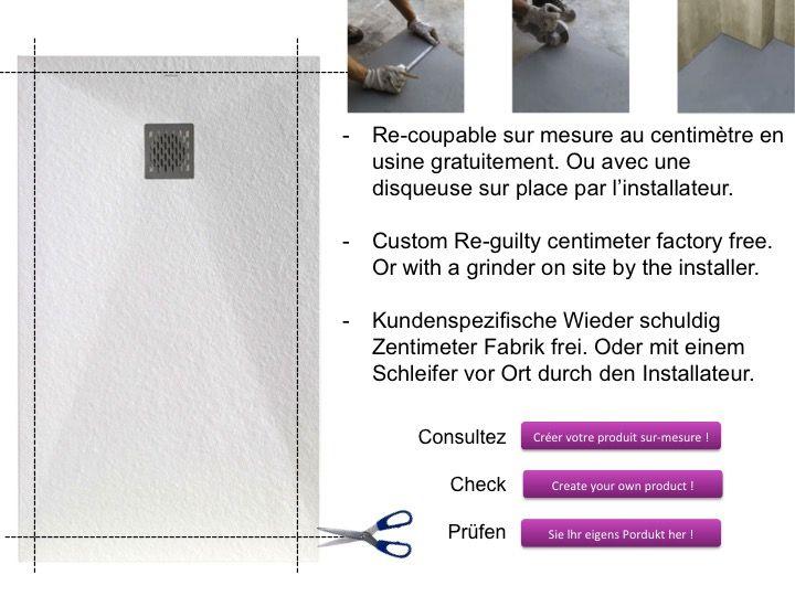 receveur de douche 110 cm en r sine bac douche l italienne en r sine all g e light gris. Black Bedroom Furniture Sets. Home Design Ideas
