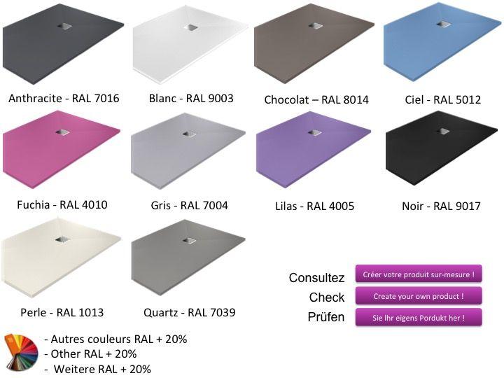receveurs de douches longueur 125 receveur de douche 125. Black Bedroom Furniture Sets. Home Design Ideas