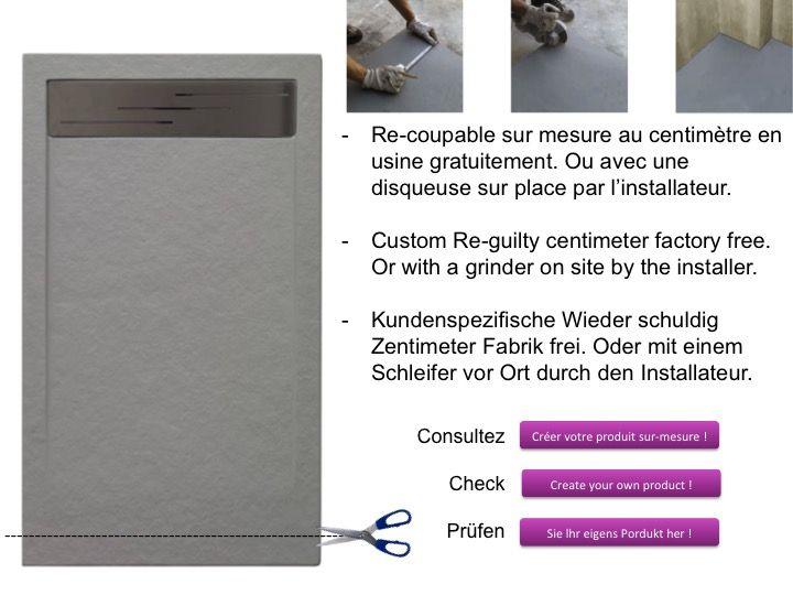 receveurs de douches longueur 120 receveur de douche 120 cm en r sine caniveau effet pierre. Black Bedroom Furniture Sets. Home Design Ideas