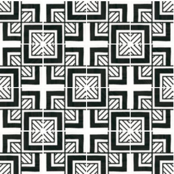 Carrelage sol et mur C. Ciment imitation - Art Deco 6 B&W 20x20 ...