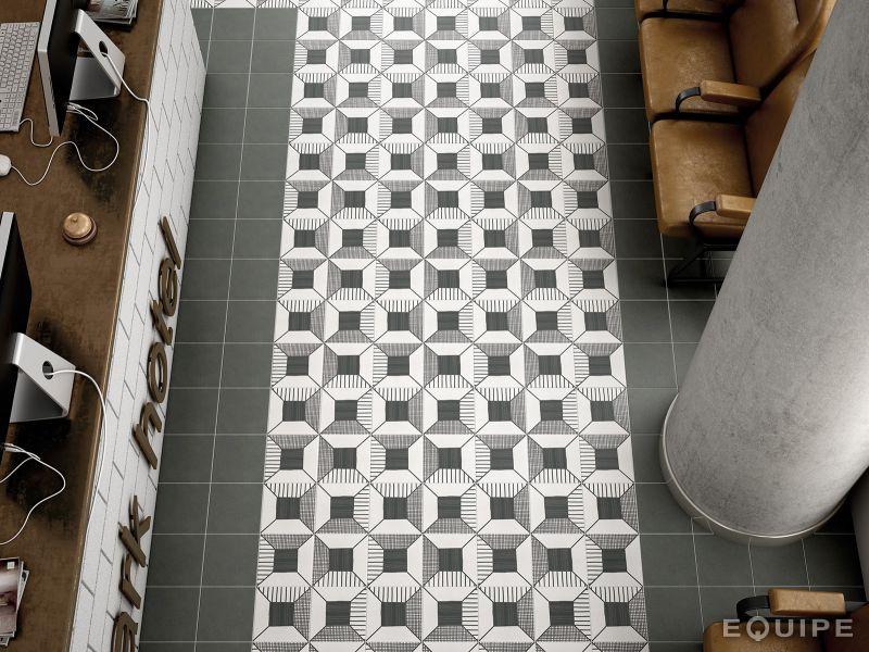 Carrelages, Mosaïques et Galets Aspect Cx. Ciment - Art Deco 3 B&W ...