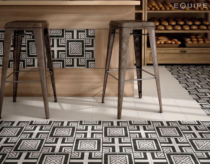 Carrelage sol et mur c ciment imitation art deco 6 b w - Gres cerame imitation carreau de ciment ...