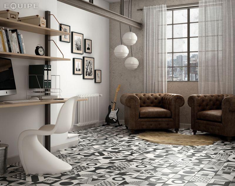 Carrelage sol et mur c ciment imitation art deco 1 b w - Gres cerame imitation carreaux de ciment ...
