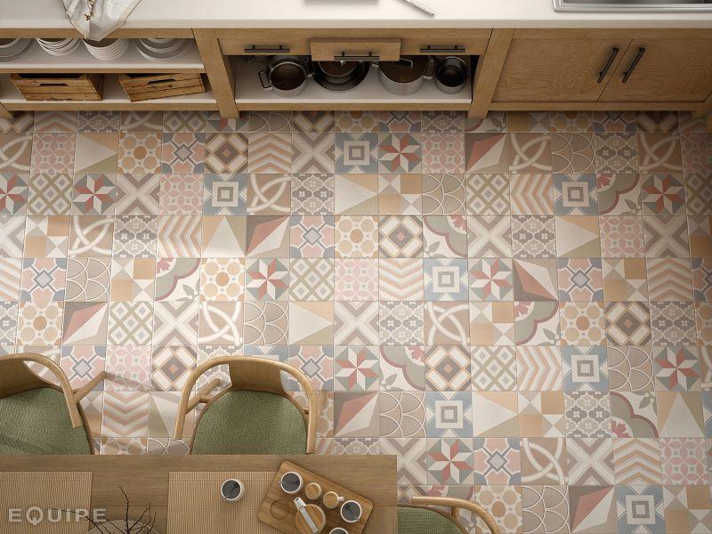 Carrelage sol salle de bain cuisine et terrasse c - Carreaux de ciment patchwork ...