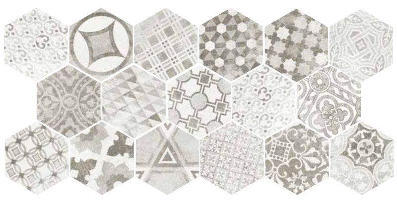 Carrelage sol et mur c ciment imitation art deco 1 hexagonal cement garden - Carreaux de ciment gres cerame ...