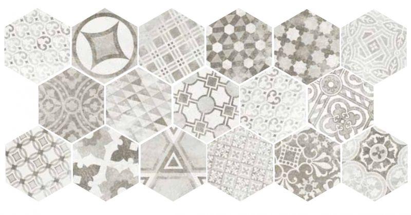 carrelage sol et mur c ciment imitation art deco 1 hexagonal cement garden grey 117 5x20. Black Bedroom Furniture Sets. Home Design Ideas