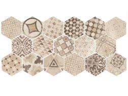 Art Deco 3 Hexagonal Cement Garden Sand Mate 17,5x20 - Carrelage de sol hexagonal,  imitation carreaux de ciment, grès Cérame.