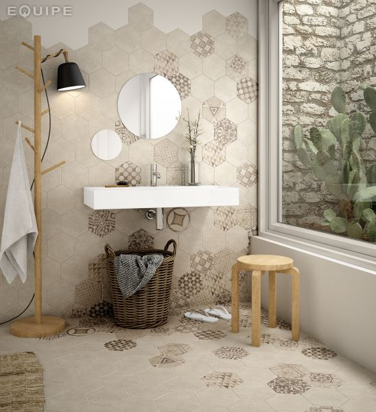 carrelages mosa ques et galets aspect cx ciment art deco 4 hexagonal cement geo sand 17 5x20. Black Bedroom Furniture Sets. Home Design Ideas