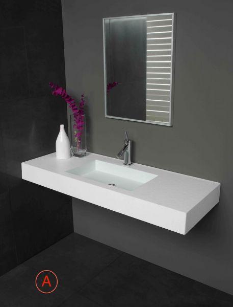 vasques largeur 100 plan vasque suspendue ou encastrer On vasque céramique ou résine