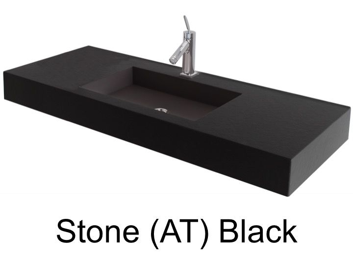 Vasques largeur 110 plan vasque suspendue ou encastrer largeur 110 cm en r sine stone noir - Vasque salle de bain 110 cm ...